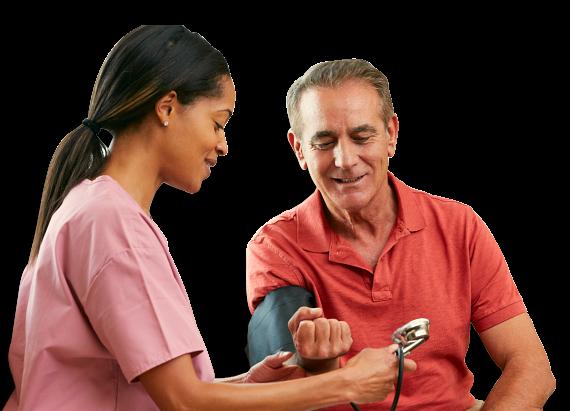 Nurse checking blood pressure