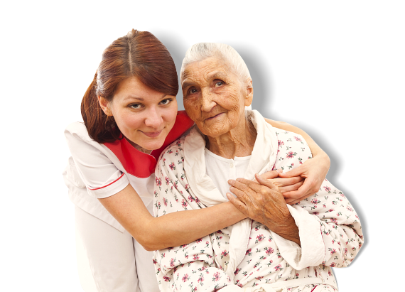 Woman hugging an old patient